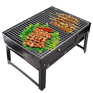 Ergode Foldable Charcoal Barbecue Grill Oven,bbq Grill Oven Set Black With 3 Barbecue Steel Needles