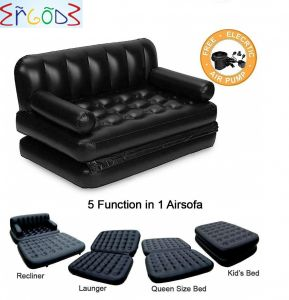 Home Decor & Furnishing - Ergode Inflatable 3 Seater Queen Size Sofa Cum Bed with Pump and Carry Bag
