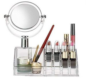 Ergode Cosmetic Make Up Clear Acrylic Lipstick Organizer 16 Slot With Removable Mirror Cosmetic Organizers Brushes And Beauty Cosmetic Stuff Storage B