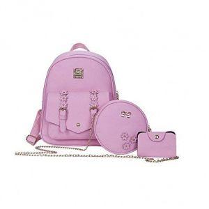 5e6ae6b65 Set of 3 Pcs PU Leather Women's Bag Rivet Pendant Bear Women Shoulder  Fashion Backpacks with purse