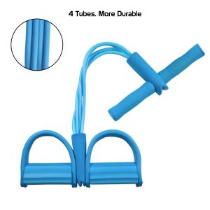 4 Strand Pull Exercisor Latex Pull Rope Ab Exerciser Tummy Trimmer For Men & Women - New With 4 Resistance Tube