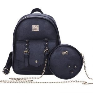35ad5a6133 Set of 3 Pcs PU Leather Women s Bag Shoulder Fashion Backpacks for Teenage  Girls with Purses - Black