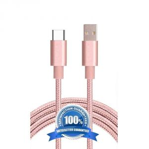 Untech Canvas Fabric Data Cable Baby Pink For Android