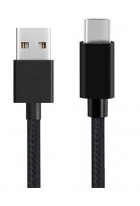 Untech Canvas Fabric Data Cable Black For C-type