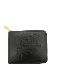Mens Wallet Premium Stylish Pu Leather Round Gold Zipper-black Dn8163