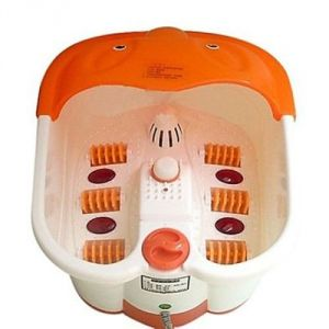 Leg Massagers - Ergode Foot Spa Bath And Roller Massager For Feet Pain Relieve And Care (White And Orange)