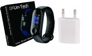 Smart watches - UnTech Fitness Tracker Watch M3 Band with Free Charging Adapter (Black)