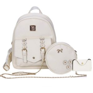 Casual Bags - Set of 3 Pcs PU Leather Women's Bag Rivet Pendant Bear Women Backpacks with Purses (White)