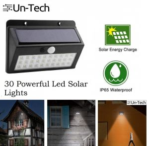 Home Decor & Furnishing - UnTech Solar Motion Sensor Powerful 30 LED with Wide Angle Design Garden Wall Light