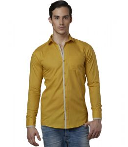 Lisova Ochre Mens Slub Cotton Plain Casual Slim Fit Shirt
