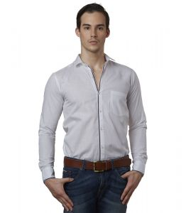 Lisova White Mens Slub Cotton Plain Casual Slim Fit Shirt