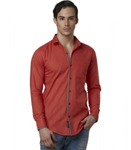 Lisova Tomato Red Mens Slub Cotton Plain Casual Slim Fit Shirt