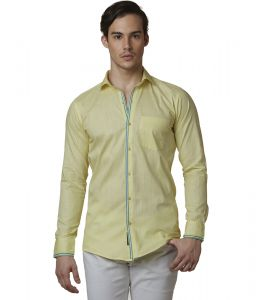 Lisova Lemon Color Mens Slub Cotton Plain Casual Slim Fit Shirt