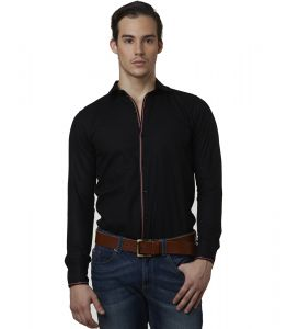 Lisova Black Color Mens Slub Cotton Plain Casual Slim Fit Shirt