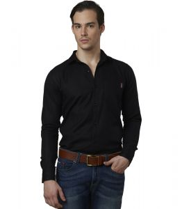 Lisova Black Color Mens Cotton Plain Casual Slim Fit Shirt