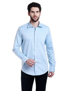 Lisova Blue Solid Slim Fit Formal Shirt