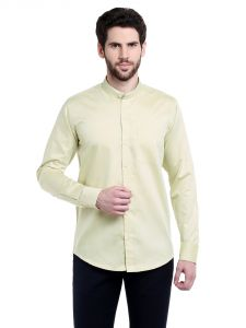 Lisova Yellow Solid Slim Fit Formal Shirt