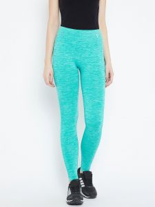 Leggings - C9 Airwear Womens Solid Turquoise Blue Legging with Self Jaquard (Code - M5309_TurquoiseBlue)