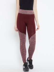 C9 Airwear Womens Solid Maroon Ankle Length Legging With Melange Structure (code - M5310_maroon)
