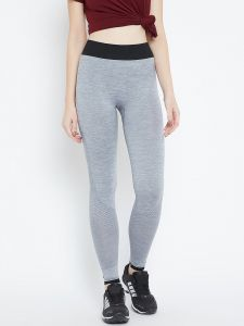 C9 Airwear Womens Solid Grey Melange Legging With Side Mesh (code - M5313_grey)