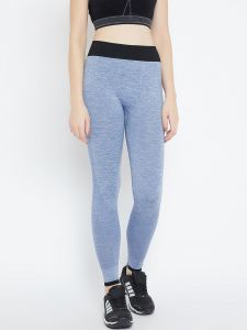 Leggings - C9 Airwear Womens Solid Light Blue Melange Legging with Side Mesh (Code - M5313_LightBlue)