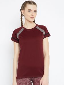 C9 Airwear Maroon Active T-shirt For Womens (code - P13658_maroon)