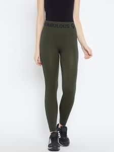 C9 Airwear Womens Solid Milatry Olive Legging With Side Stripe (code - P5311_milatryolive)