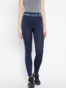C9 Airwear Womens Solid Navy Legging With Side Stripe (code - P5311_navy)
