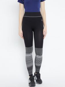 C9 Airwear Womens Solid Legging With Bottom Pattern (code - P5312_jetblack)