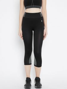 C9 Airwear Yoga -gym Jet Black Capri For Womens-original Fine Fabric (code - P7109_jetblack)
