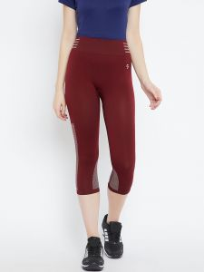 C9 Airwear Maroon Yoga - Gym Capri For Womens-original Fine Fabric (code - P7109_maroon)