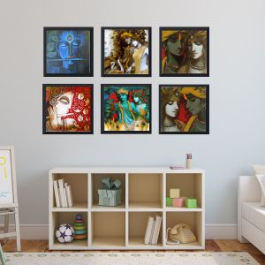 Wall Hangings - RE-DESIGN MATT 6x6 inch each black framed paintings( set of 6)