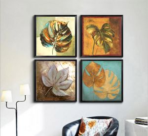 Wall Hangings - RE-DESIGN MATT black framed paintings( set of 4)-6x6 inch each