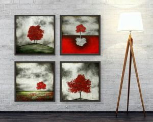 Small MATT Black Framed Paintings(set Of 4) By RE-DESIGN