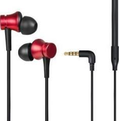 Basic Wired Earphones With Mic ( Red )