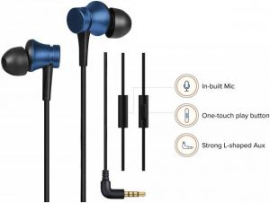 Basic Wired Earphones With Mic ( Blue)