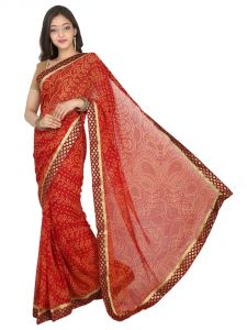 Balaji TRADITIONAL RAJASTHANI BANDHANI SAREE HEAVY BORDER EXPORT QUALITY  SAR (code - 17823I)