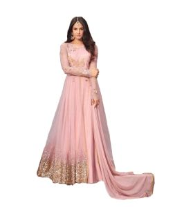 Krishna Tex Desinger Net Pink Color Embroidered Anarkali Suit (code - Kts2644)
