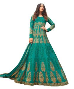 Designer Georgette Green Color Embroidered Anarkali Suit (code - Kts2646)