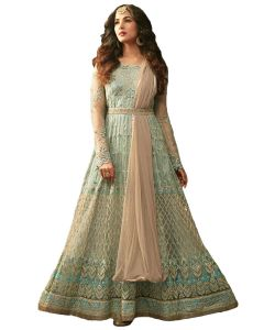 Designer Net Sky Blue Color Embroidered Anarkali Suit (code - Kts2649)