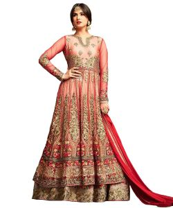 Designer Net Red Color Embroidered Anarkali Suit (code - Kts2654)