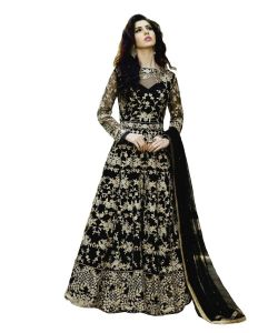 Designer Net Black Color Embroidered Anarkali Suit (code - Kts2655)