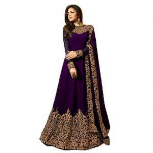 Krishna Tex Designer Purple Georgette Embroidery Work Anarkali Suit (code - Kts2676)