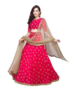 Designer Pink Banarasi Silk Embroidered Sequence Work Lehenga Choli