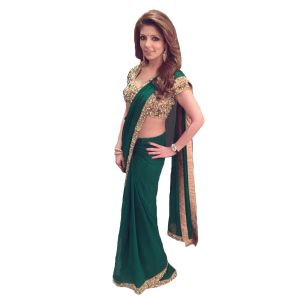 Designer Green Georgette Sequence Embroidery Work With Multicolor Stone Saree(code - Kts7090)
