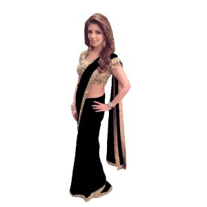 Designer Black Georgette Sequence Embroidery Work With Multicolor Stone Saree(code - Kts7091)