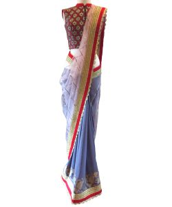 Designer White And Skyblue Georgette Net With Sequence Embroidery Work Saree(code - Kts7097)