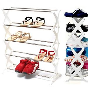 Shoes Rack Stainless Steel 5 Tiers Stand Storage Organizer Self Home Decor Rack