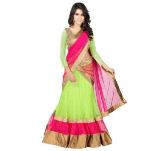 Payal Fashion Womens Semi Stitched Lehenga Choli In Net Fabric With Blouse & Dupatta (green)