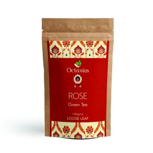 Octavius Rose Loose Leaf Green Tea-stress Relieving & Relaxing| Wellness Rose Tea | Flower | Decaffeinated-100 Gms